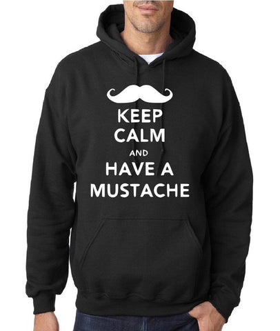 Keep calm have mustache Mens Hoodies White-Gildan-Daataadirect.co.uk