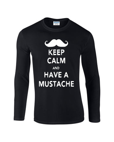 Keep calm have mustache Mens Long SleeveT Shirt White-Gildan-Daataadirect.co.uk