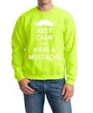 Keep calm have mustache Mens SweatShirt White-Gildan-Daataadirect.co.uk