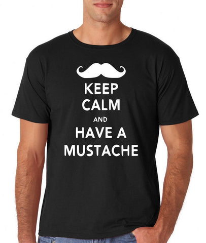 Keep calm have mustache Mens T Shirt White-Gildan-Daataadirect.co.uk