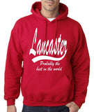 "LANCASTER Probably The Best City In The World Mens Hoodies White-Hoodies-Gildan-Cherry Red-S To Fit Chest 36-38"" (91-96cm)-Daataadirect"