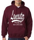 "LANCASTER Probably The Best City In The World Mens Hoodies White-Hoodies-Gildan-Garnet-S To Fit Chest 36-38"" (91-96cm)-Daataadirect"