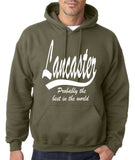 "LANCASTER Probably The Best City In The World Mens Hoodies White-Hoodies-Gildan-Military Green-S To Fit Chest 36-38"" (91-96cm)-Daataadirect"