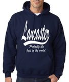 "LANCASTER Probably The Best City In The World Mens Hoodies White-Hoodies-Gildan-Navy-S To Fit Chest 36-38"" (91-96cm)-Daataadirect"