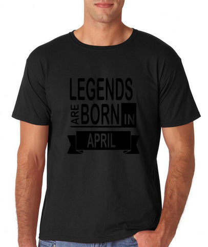 "LEGENDS ARE BORN IN APRIL Men T Shirt Black-T Shirts-Gildan-Black-S To Fit Chest 36-38"" (91-96cm)-Daataadirect"