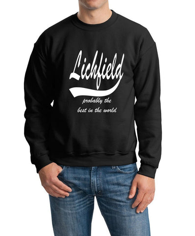 LICHFIELD Probably The Best City In The World Mens SweatShirt White-Gildan-Daataadirect.co.uk