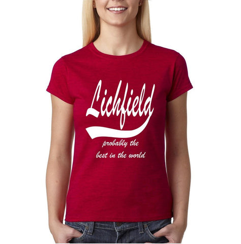 LICHFIELD Probably The Best City In The World Womens T Shirts White-Gildan-Daataadirect.co.uk