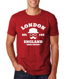 "London England Hipster Men T Shirts White-T Shirts-Gildan-Antique Cherry-S To Fit Chest 36-38"" (91-96cm)-Daataadirect"