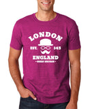 "London England Hipster Men T Shirts White-T Shirts-Gildan-Antique Helconia-S To Fit Chest 36-38"" (91-96cm)-Daataadirect"