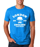 "London England Hipster Men T Shirts White-T Shirts-Gildan-Antique Sapphire-S To Fit Chest 36-38"" (91-96cm)-Daataadirect"