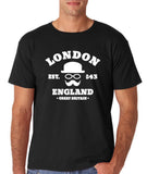 "London England Hipster Men T Shirts White-T Shirts-Gildan-Black-M To Fit Chest 38-40"" (96-101cm)-Daataadirect"