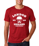 "London England Hipster Men T Shirts White-T Shirts-Gildan-Cardinal-S To Fit Chest 36-38"" (91-96cm)-Daataadirect"