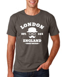 "London England Hipster Men T Shirts White-T Shirts-Gildan-Charcoal-S To Fit Chest 36-38"" (91-96cm)-Daataadirect"