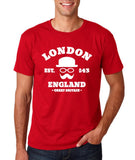 "London England Hipster Men T Shirts White-T Shirts-Gildan-Cherry Red-S To Fit Chest 36-38"" (91-96cm)-Daataadirect"