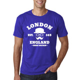 "London England Hipster Men T Shirts White-T Shirts-Gildan-Cobalt-S To Fit Chest 36-38"" (91-96cm)-Daataadirect"