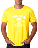 "London England Hipster Men T Shirts White-T Shirts-Gildan-Daisy-S To Fit Chest 36-38"" (91-96cm)-Daataadirect"