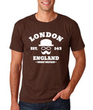 "London England Hipster Men T Shirts White-T Shirts-Gildan-Dk Chocolate-S To Fit Chest 36-38"" (91-96cm)-Daataadirect"