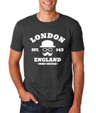 "London England Hipster Men T Shirts White-T Shirts-Gildan-Dk Heather-S To Fit Chest 36-38"" (91-96cm)-Daataadirect"