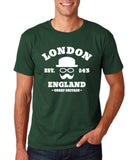 "London England Hipster Men T Shirts White-T Shirts-Gildan-Forest Green-S To Fit Chest 36-38"" (91-96cm)-Daataadirect"