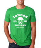 "London England Hipster Men T Shirts White-T Shirts-Gildan-Heather Irish Green-S To Fit Chest 36-38"" (91-96cm)-Daataadirect"