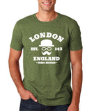 "London England Hipster Men T Shirts White-T Shirts-Gildan-Heather Military Green-S To Fit Chest 36-38"" (91-96cm)-Daataadirect"