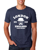 "London England Hipster Men T Shirts White-T Shirts-Gildan-Heather Navy-S To Fit Chest 36-38"" (91-96cm)-Daataadirect"