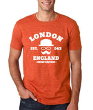 "London England Hipster Men T Shirts White-T Shirts-Gildan-Heather Orange-S To Fit Chest 36-38"" (91-96cm)-Daataadirect"