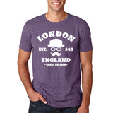 "London England Hipster Men T Shirts White-T Shirts-Gildan-Heather Purple-S To Fit Chest 36-38"" (91-96cm)-Daataadirect"