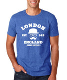 "London England Hipster Men T Shirts White-T Shirts-Gildan-Heather Royal-S To Fit Chest 36-38"" (91-96cm)-Daataadirect"