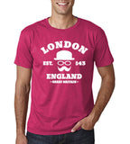 "London England Hipster Men T Shirts White-T Shirts-Gildan-Heliconia-S To Fit Chest 36-38"" (91-96cm)-Daataadirect"