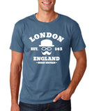 "London England Hipster Men T Shirts White-T Shirts-Gildan-Indigo Blue-S To Fit Chest 36-38"" (91-96cm)-Daataadirect"
