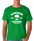 "London England Hipster Men T Shirts White-T Shirts-Gildan-Irish Green-S To Fit Chest 36-38"" (91-96cm)-Daataadirect"