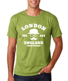 "London England Hipster Men T Shirts White-T Shirts-Gildan-Kiwi-S To Fit Chest 36-38"" (91-96cm)-Daataadirect"