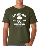 "London England Hipster Men T Shirts White-T Shirts-Gildan-Military Green-S To Fit Chest 36-38"" (91-96cm)-Daataadirect"