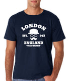 "London England Hipster Men T Shirts White-T Shirts-Gildan-Navy Blue-S To Fit Chest 36-38"" (91-96cm)-Daataadirect"