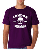 "London England Hipster Men T Shirts White-T Shirts-Gildan-Purple-S To Fit Chest 36-38"" (91-96cm)-Daataadirect"