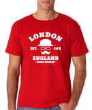 "London England Hipster Men T Shirts White-T Shirts-Gildan-Red-S To Fit Chest 36-38"" (91-96cm)-Daataadirect"