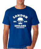 "London England Hipster Men T Shirts White-T Shirts-Gildan-Royal Blue-S To Fit Chest 36-38"" (91-96cm)-Daataadirect"
