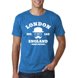 "London England Hipster Men T Shirts White-T Shirts-Gildan-Sapphire-S To Fit Chest 36-38"" (91-96cm)-Daataadirect"