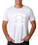 "London England Hipster Men T Shirts White-T Shirts-Gildan-White-S To Fit Chest 36-38"" (91-96cm)-Daataadirect"