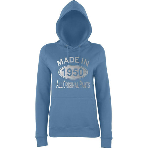 Made In 1950 All Orignal Parts Women Hoodies Silver-AWD-Daataadirect.co.uk