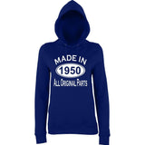 Made In 1950 All Orignal Parts Women Hoodies White-AWD-Daataadirect.co.uk