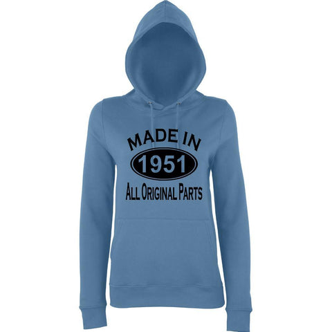 Made In 1951 All Orignal Parts Women Hoodies Black-AWD-Daataadirect.co.uk