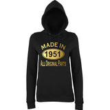 Made In 1951 All Orignal Parts Women Hoodies Gold-AWD-Daataadirect.co.uk