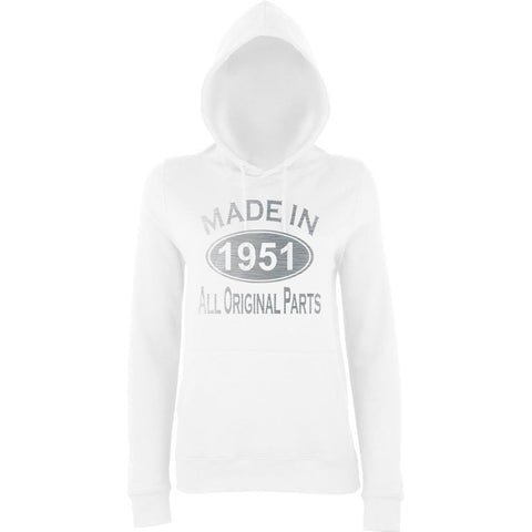 Made In 1951 All Orignal Parts Women Hoodies Silver-AWD-Daataadirect.co.uk