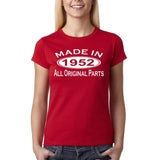 Made In 1952 All Original Parts White Womens T Shirt-Gildan-Daataadirect.co.uk