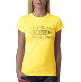 Made In 1953 All Original Parts Gold Womens T Shirt-Gildan-Daataadirect.co.uk