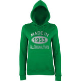 Made In 1953 All Orignal Parts Women Hoodies Silver-AWD-Daataadirect.co.uk