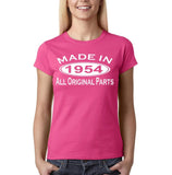 Made In 1954 All Original Parts White Womens T Shirt-Gildan-Daataadirect.co.uk