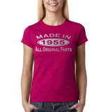 Made In 1955 All Original Parts Silver Womens T Shirt-Gildan-Daataadirect.co.uk